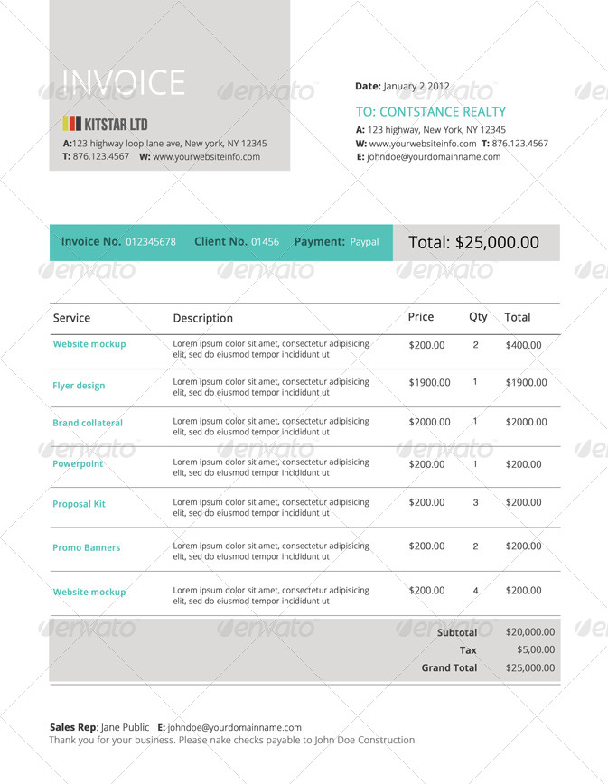 modern invoice template by designdistrict graphicriver