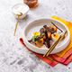 Breakfast with pickled herring, new potatoes, soft boiled egg - PhotoDune Item for Sale