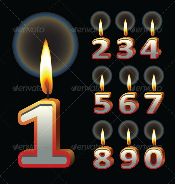 Birthday Candles Vector - Birthdays Seasons/Holidays