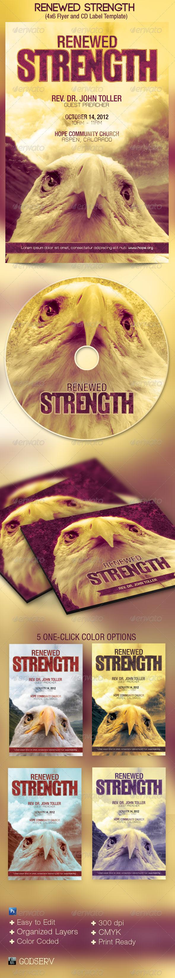 Renewed Strength Church Flyer CD Template - Church Flyers