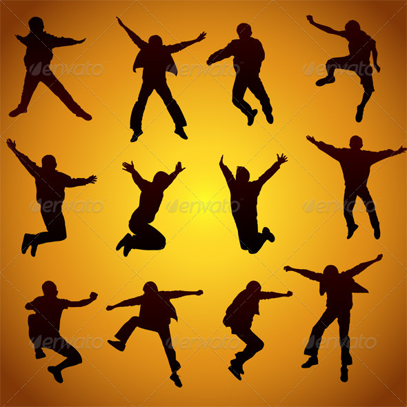 Jumping Silhouettes - People Characters