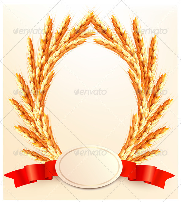 Ears of wheat with label - Borders Decorative