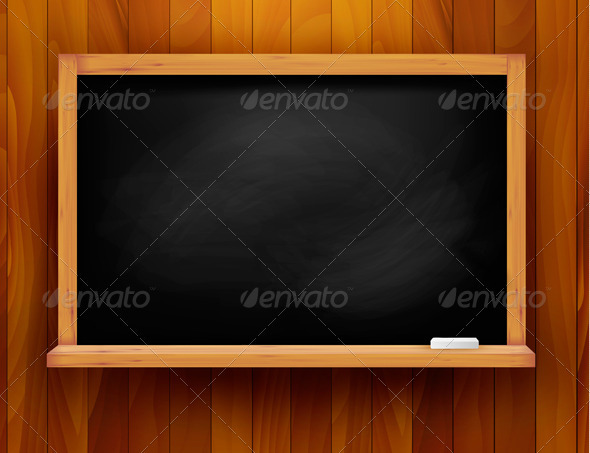 Blackboard on wooden background - Backgrounds Business