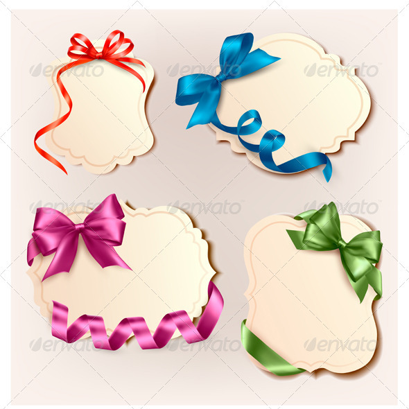 Set of beautiful cards with colorful gift bows wit - Seasons/Holidays Conceptual