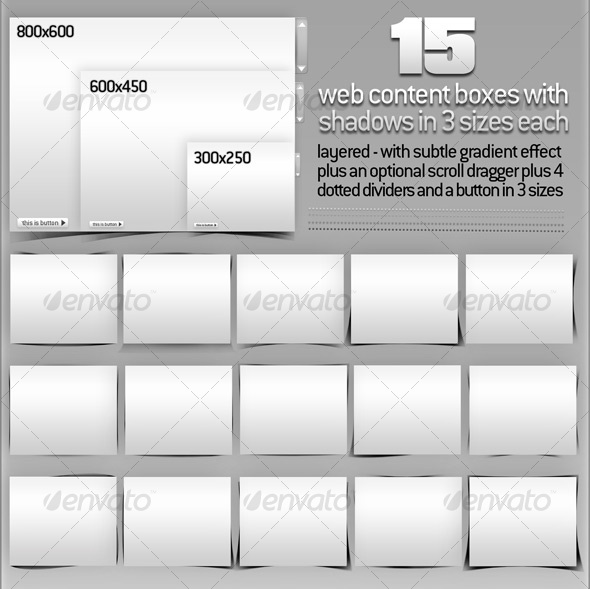 15 Web Content Boxes with Layered Shadows + Extras - Miscellaneous Web Elements