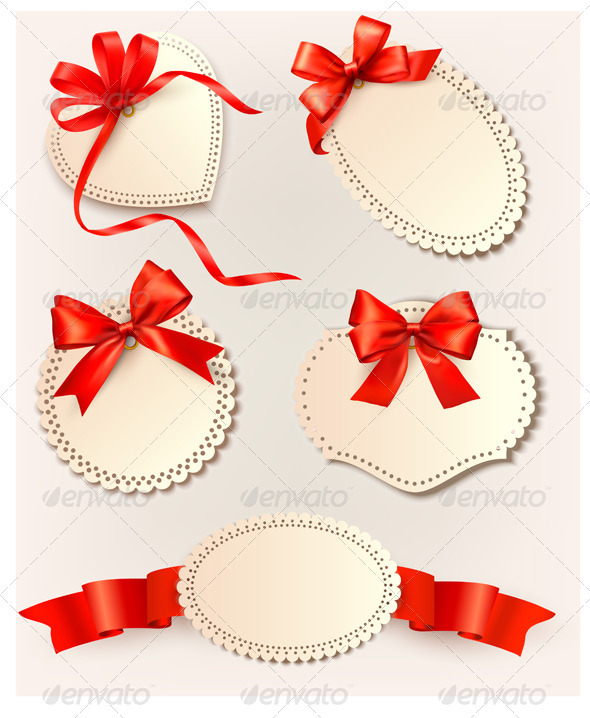 Set of beautiful tags with red gift bows with ribb - Christmas Seasons/Holidays