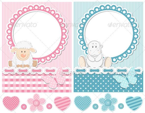 Happy Baby Sheep And Hippo Scrapbook Set - Decorative Vectors