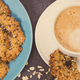 Cup of white coffee and fresh baked oatmeal cookies with honey and healthy seeds - PhotoDune Item for Sale