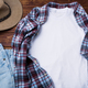 Men's T-shirt mockup with plaid shirt and hat. - PhotoDune Item for Sale