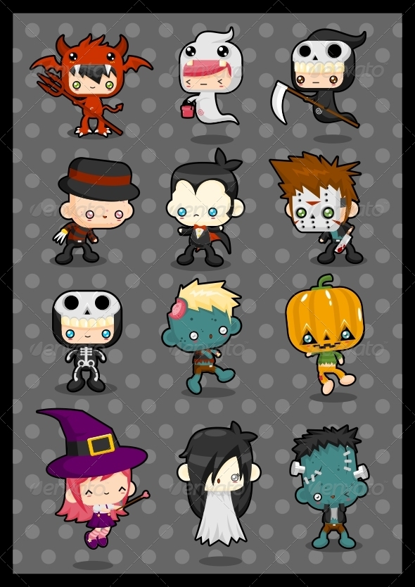 Kawaii Costume Pack: Halloween - Characters Vectors