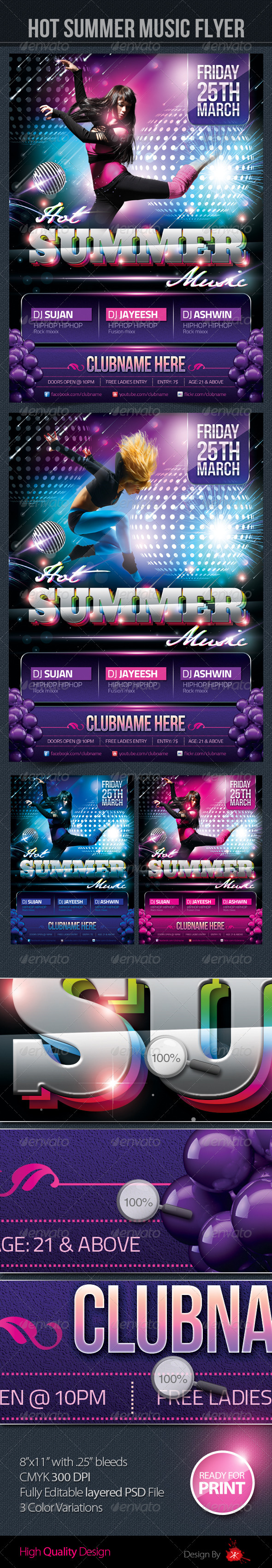 Hot Summer Music Flyer - Clubs & Parties Events