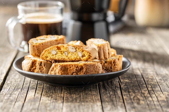 Italian cantuccini cookies. Sweet dried biscuits with almonds. - Stock Photo - Images