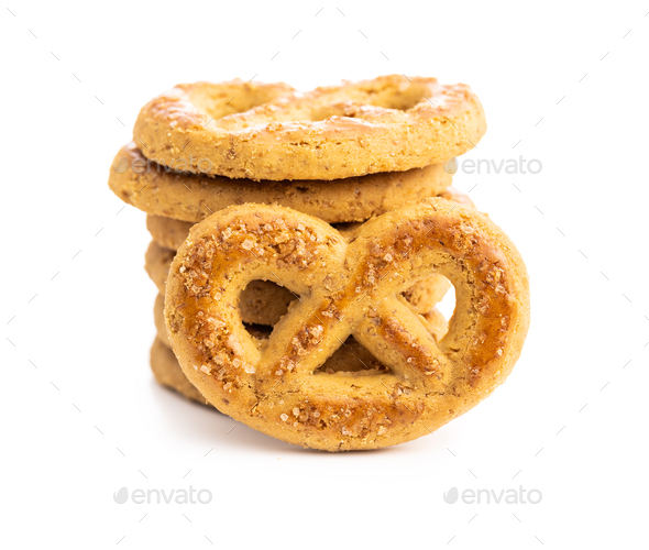 Sweet cookies in the shape of a pretzel - Stock Photo - Images