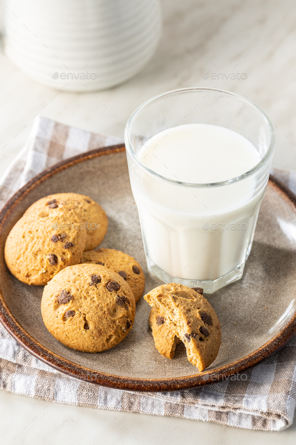 Sweet chocolate cookies. Tasty biscuits. - Stock Photo - Images