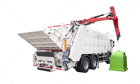 Brand New White colored Garbage Truck Isolated over white background - Stock Photo - Images