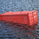 Shipping cargo container lost in the sea or ocean. Cargo isurance concept. - PhotoDune Item for Sale