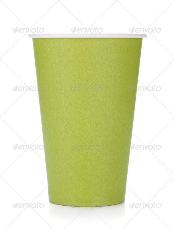 Green paper coffee cup - Stock Photo - Images