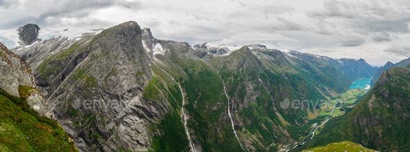 Views of peaks, waterfalls and Oldevatnet lake from Kattanakken, Norway. - Stock Photo - Images