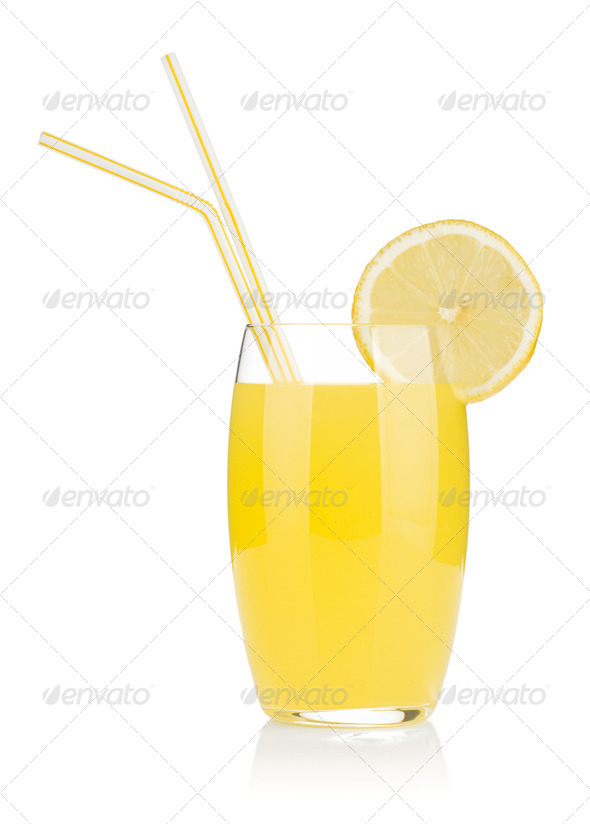 Lemon juice glass and two drinking straw - Stock Photo - Images