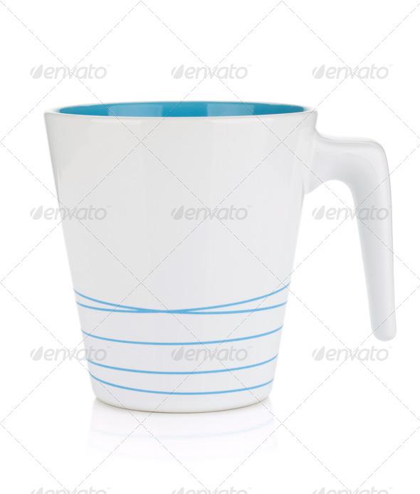 White mug, blue inside - Stock Photo - Images