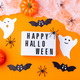 Halloween background with light box, web, spiders, ghosts, bats and pumpkin - PhotoDune Item for Sale