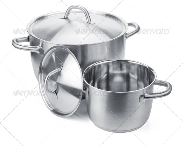 Two stainless steel pots - Stock Photo - Images