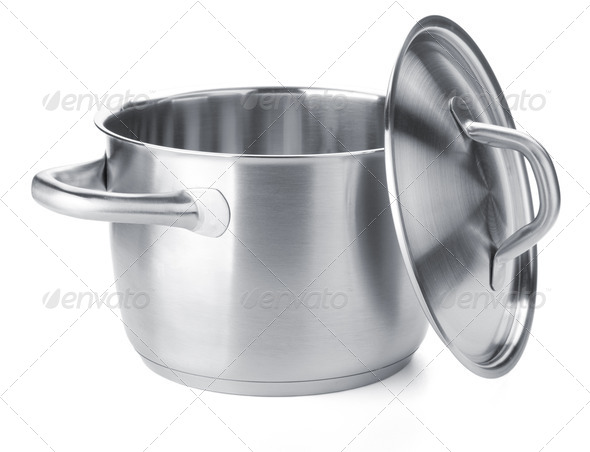 Stainless steel pot with cover - Stock Photo - Images