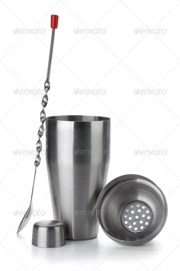 Cocktail shaker and spoon - Stock Photo - Images