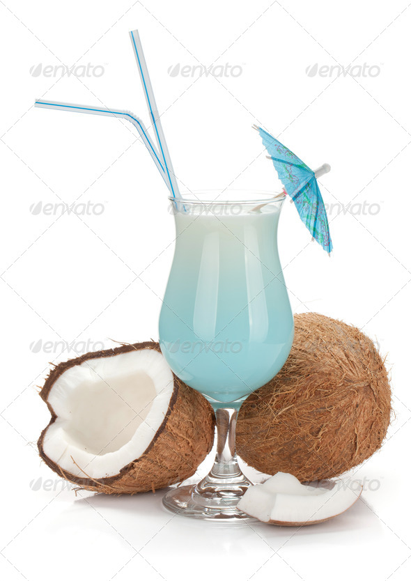 Blue hawaii cocktail and coconuts - Stock Photo - Images