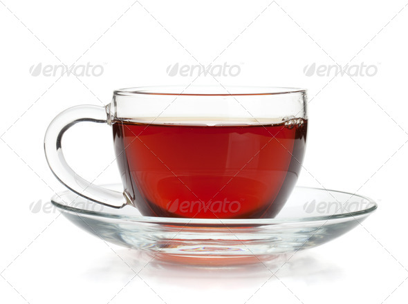 Black tea in glass cup - Stock Photo - Images
