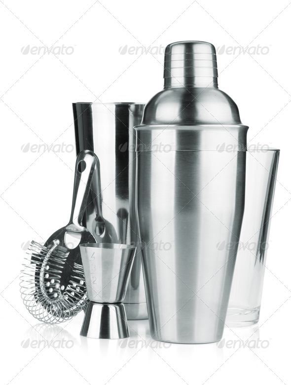 Cocktail shakers, strainer and jigger - Stock Photo - Images
