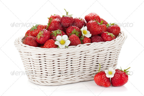 Basket of ripe strawberries - Stock Photo - Images