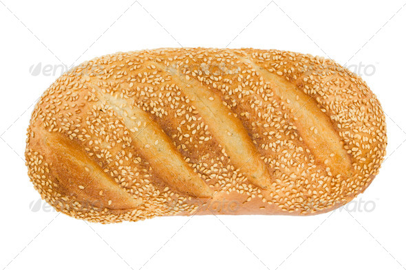 White bread with sesame. View from above. - Stock Photo - Images