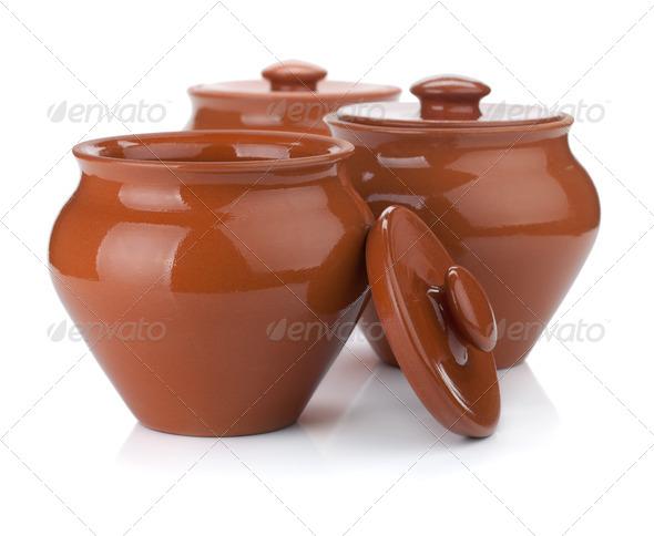 Three clay pots - Stock Photo - Images