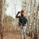Man with binoculars in the forest - PhotoDune Item for Sale