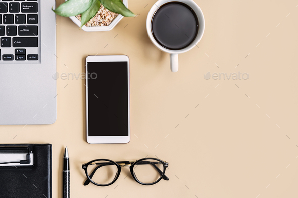 Empty screen Smart phone and file folder on business desk office with copy space, Top view - Stock Photo - Images