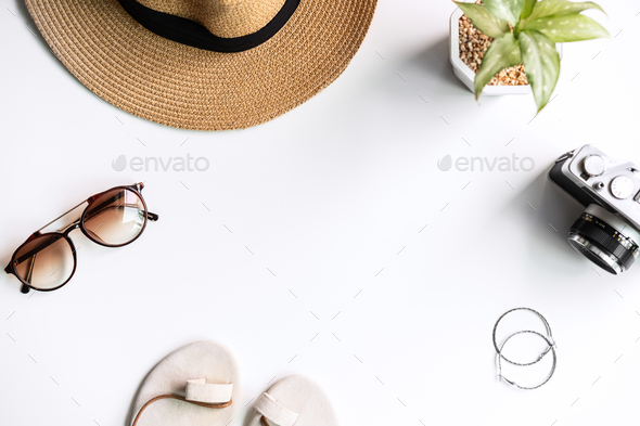 Travel item and accessories on white background with copy space, Top view - Stock Photo - Images