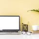 Modern and stylish workspace mock up with blank laptop and desk office supplies - PhotoDune Item for Sale