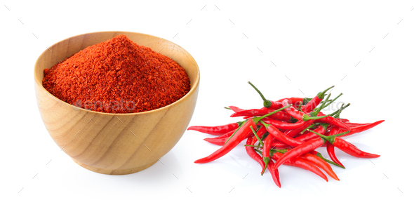 Cayenne pepper in wood bowl on white - Stock Photo - Images