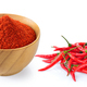 Cayenne pepper in wood bowl on white - PhotoDune Item for Sale