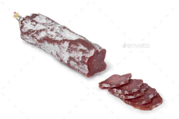 Sliced Saint Agaune sausage, a French pork saucisson, on white background - Stock Photo - Images