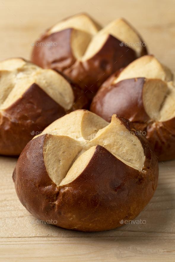 Fresh baked Lye rolls close up - Stock Photo - Images