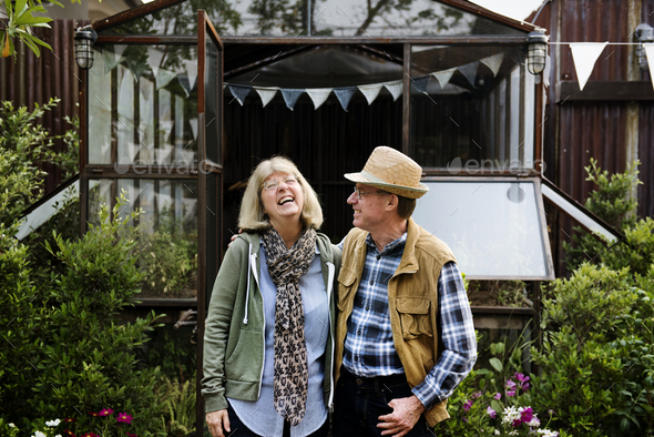 Senior couple planting vegetables at garden backyard - Stock Photo - Images