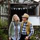 Senior couple planting vegetables at garden backyard - PhotoDune Item for Sale