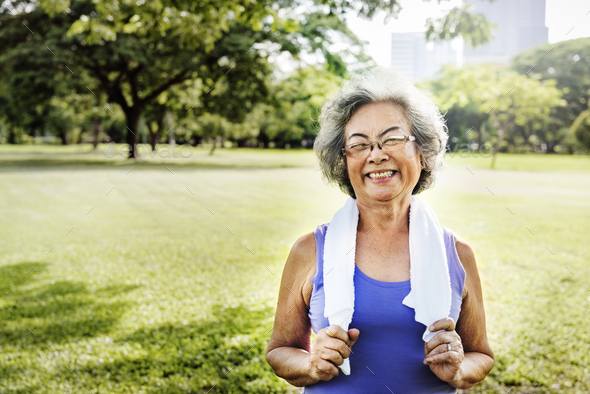 Senior Woman Exercise Park Outdoors Concept - Stock Photo - Images