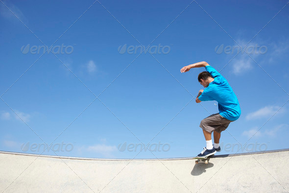 Teenage Boy In Skateboard Park - Stock Photo - Images