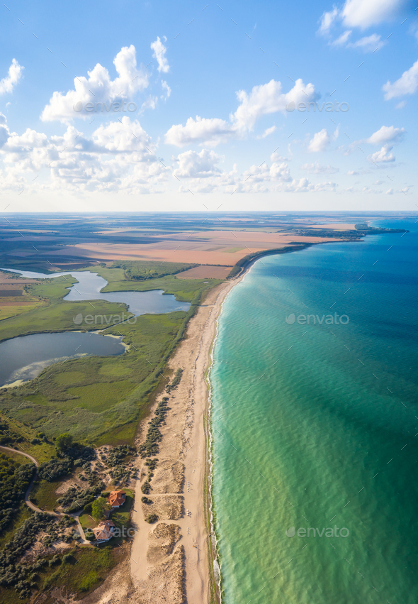 Aerial panoramic view of picturesque coastline - Stock Photo - Images