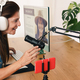 Mature caucasian influencer woman recording audio and streaming live video online with smartphone - PhotoDune Item for Sale