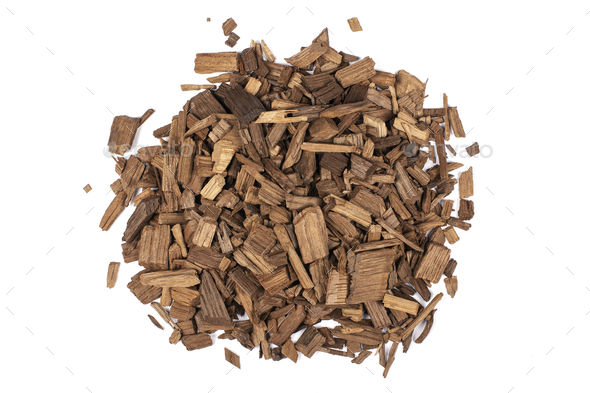Wooden chips of oak - Stock Photo - Images
