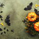 Happy Halloween swamp green background with pumpkins, bats, spiders, candy corn - PhotoDune Item for Sale